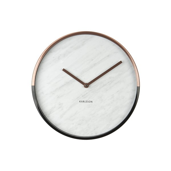 Hodiny Present Time Marble Delight White