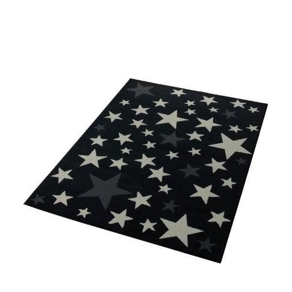 Koberec City & Mix - čierne hviezdy, 140x200 cm