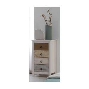 Biela komoda z borovicového dreva s farebnými zásuvkami SOB Irelia