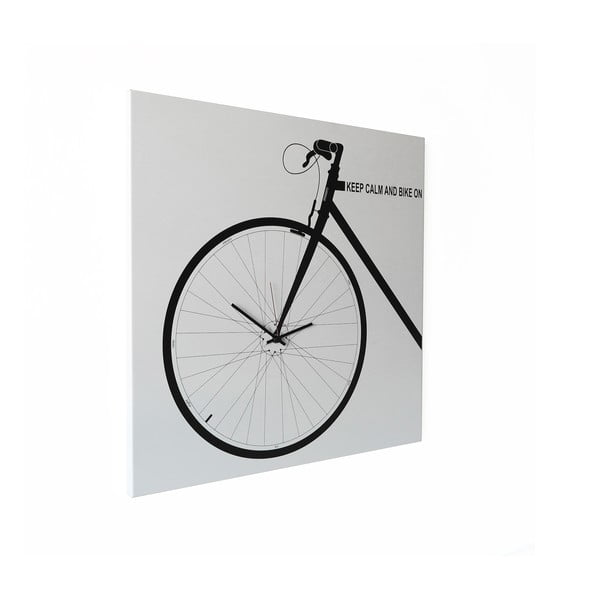 Nástenné hodiny dESIGNoBJECT.it Bike White, 50 x 50 cm