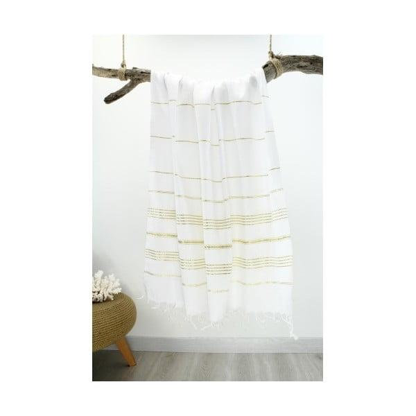 Bielo-zlatá hammam osuška Classic Style, 100 x 180 cm