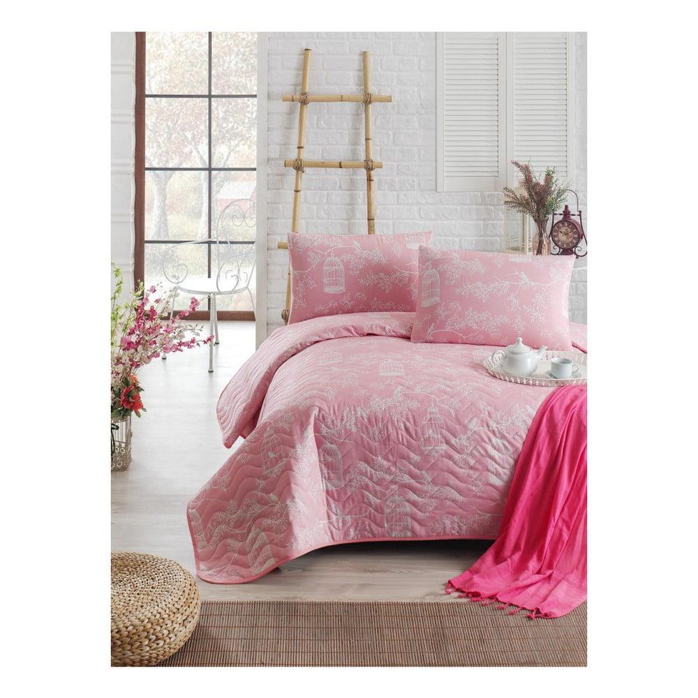 Ružový prešívaný ľahký pléd s obliečkou na vankúš Pretty b40109fb62