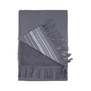 Antracitová hammam osuška Walra, 100×180 cm