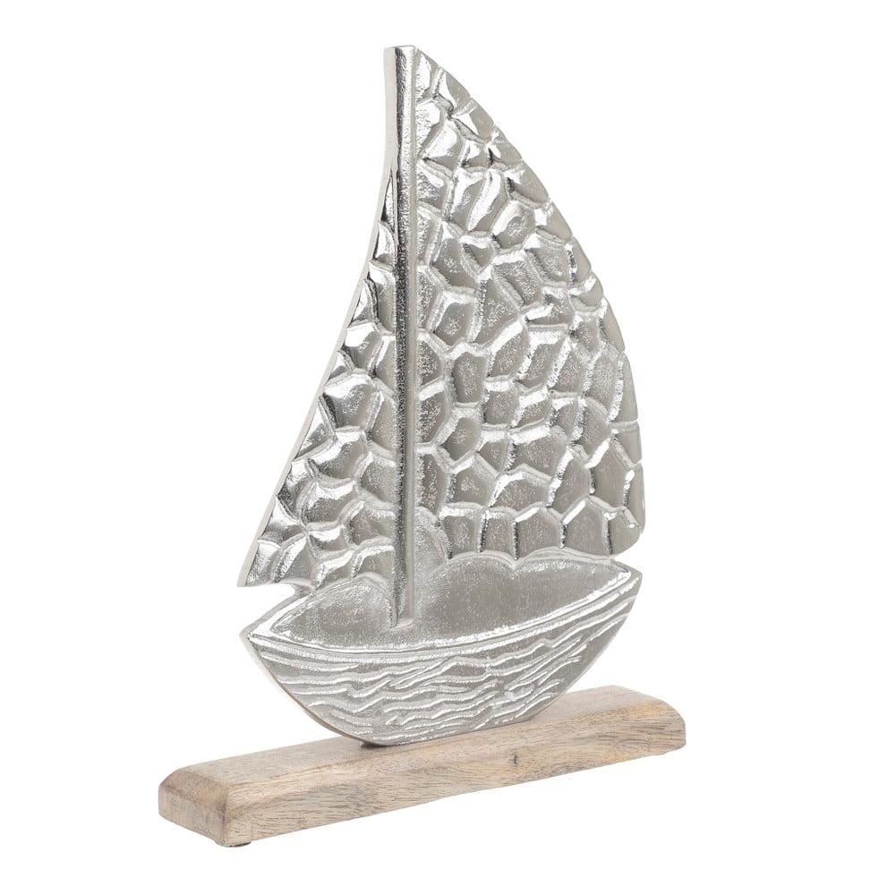 Dekorácia z dreva a kovu v tvare lode InArt, 25 × 32 cm