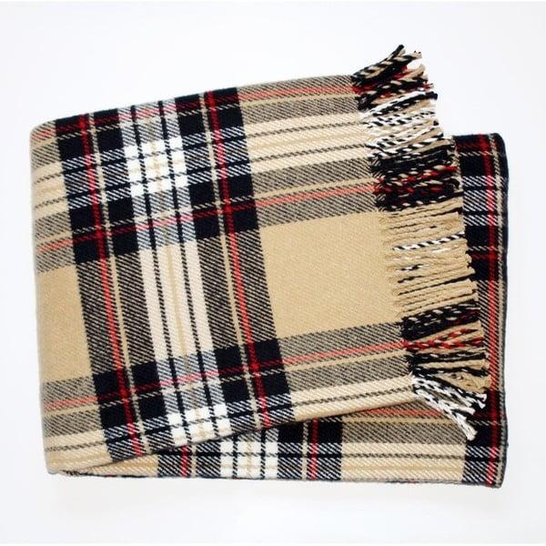 Béžová károvaná deka Euromant Scott, 140 x 180 cm