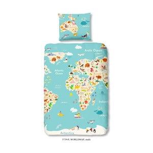 Detské bavlnené obliečky na jednolôžko Good Morning Worl Map, 140 × 200 cm