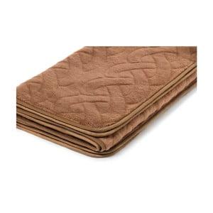 Hnedá deka z ťavej vlny Royal Dream Dark Lines, 220 x 200 cm