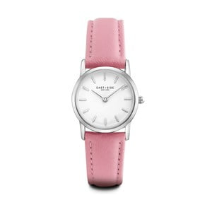 Dámske hodinky s ružovým koženým remienkom a ciferníkom v striebornej farbe Eastside Elridge