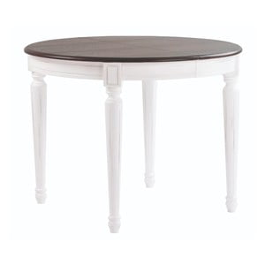 Biely jedálenský stôl so sivou doskou Folke Viktoria, ∅ 105 cm