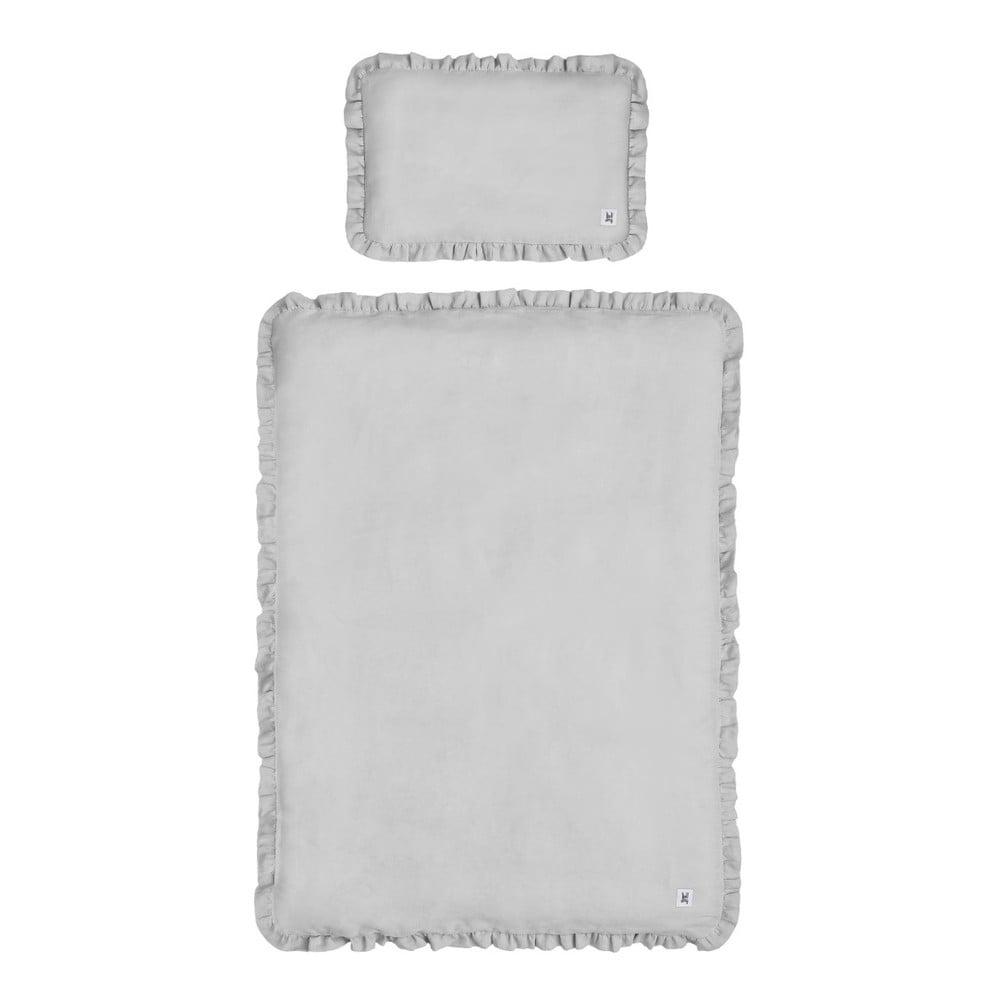 Sivé detské ľanové obliečky BELLAMY Stone Gray, 140 × 200 cm