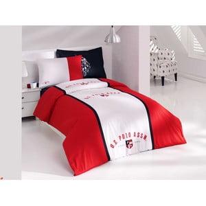 Sada obliečok a plachty US Polo Percale 160x220 cm, Dark Blue and Red