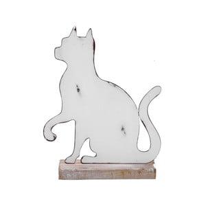 Malá biela kovová dekorácia na drevenom podstavci s motívom mačky Ego Dekor, 15×19,5 cm