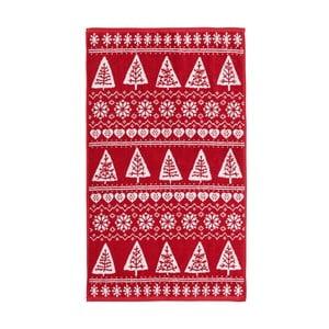 Červený uterák Nordic Winter, 90x140 cm