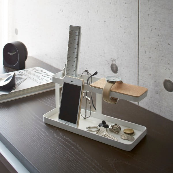 Biely multifunkčný stojan Yamazaki Tower Desk Bar