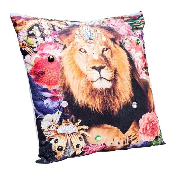 Farebný vankúš s motívom leva Kare Design Bollywood, 45×45 cm