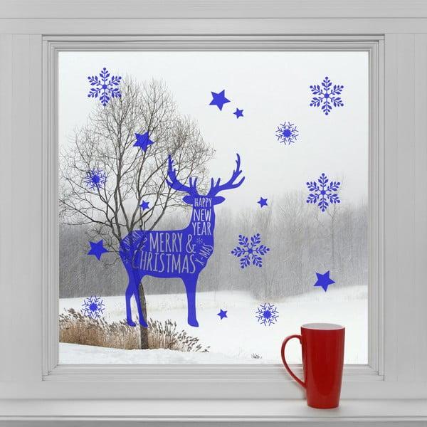 Elektrostatické vianočné  samolepky Modrý sobík