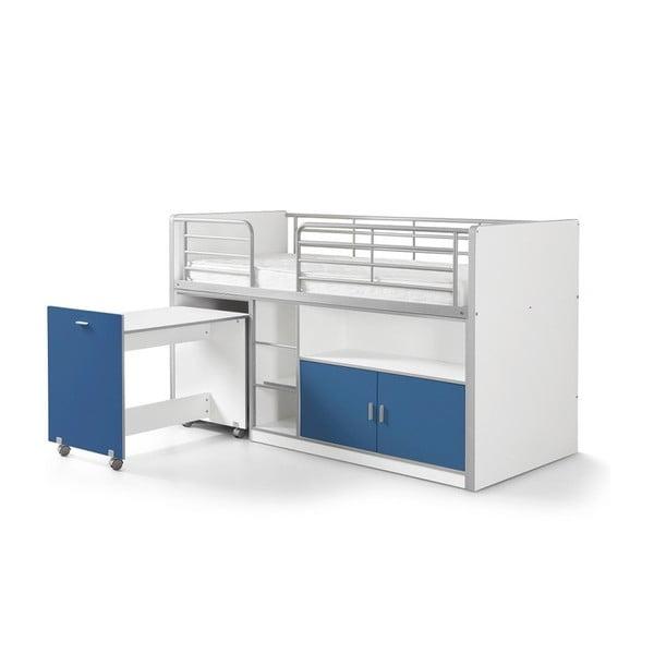 Modrá poschodová posteľ s vysúvacím stolíkom a úložným priestorom Vipack Bonny, 200 × 90 cm