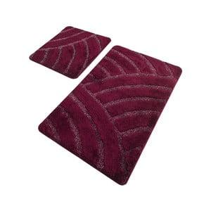 Sada 2 vínových kúpeľňových predložiek Confetti Bathmats Alya Cherry