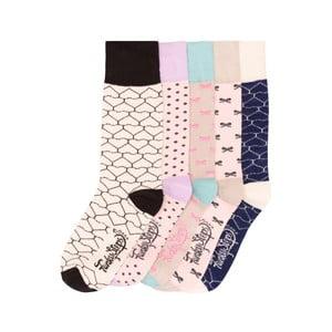 Sada 5 párov farebných ponožiek Funky Steps Beiges, veľ. 35-39