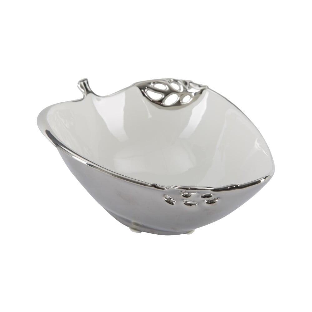 Bielo-strieborná dekoratívna keramická miska Mauro Ferretti Apple