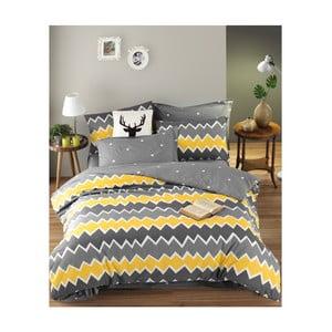Obliečky s plachtou na dvojlôžko z ranforce bavlny Mijolnir Zigros Yellow, 160 × 220 cm