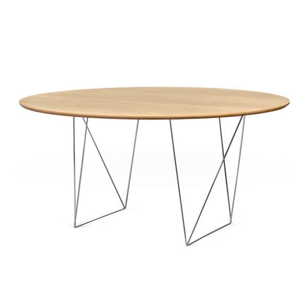 Jedálenský stôl v dekore dubového dreva s pochrómovanou podnožou TemaHome Row, Ø150cm