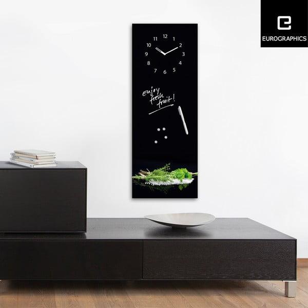 Magnetická tabuľa s hodinami Herbs, 30 x 80 cm