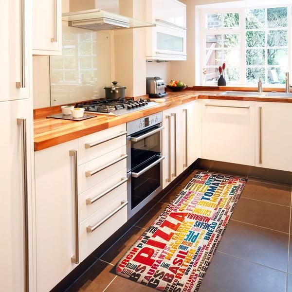 Vysokoodolný kuchynský koberec Pizza, 60x300 cm