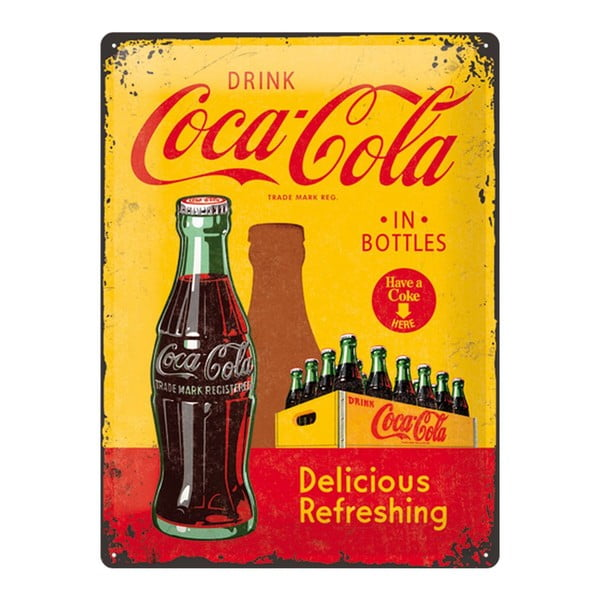 Plechová ceduľa Yellow Drink Coca Cola