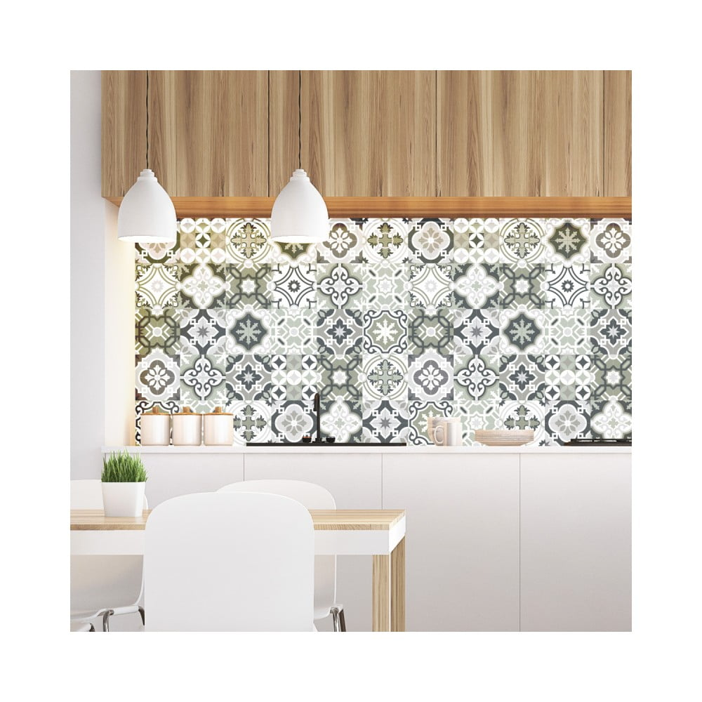 Sada 30 nástenných samolepiek Ambiance Wall Decal Cement Tiles Shades of Gray Oslo, 15 × 15 cm