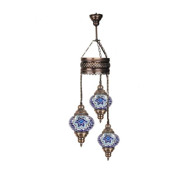 Trojitá sklenená závesná lampa Taji, ⌀ 13 cm