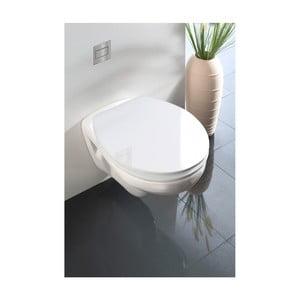 Biele WC sedadlo s jednoduchým zatváraním Wenko Classic, 45 x 38,8 cm