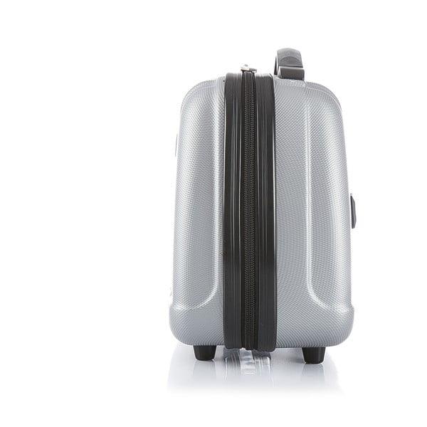 Cestovný kufor v striebornej farbe s príručnou batožinou Blue Star Prague, 47 l