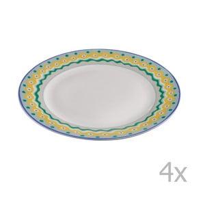 Sada 4 porcelánových dezertných tanierikov Oilily 19 cm, zelená