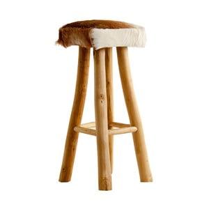 Barová stolička z recyklovaného borovicového dreva s koženým poťahom VICAL HOME Mambe