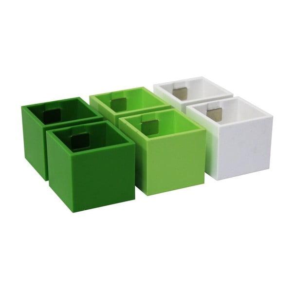 Sada 6 malých magnetických kvetináčov CUBE, zelená