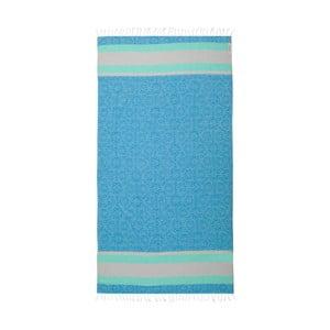 Modrá hammam osuška z bavlnených a bambusových vlákien Begonville Coast, 180×95 cm