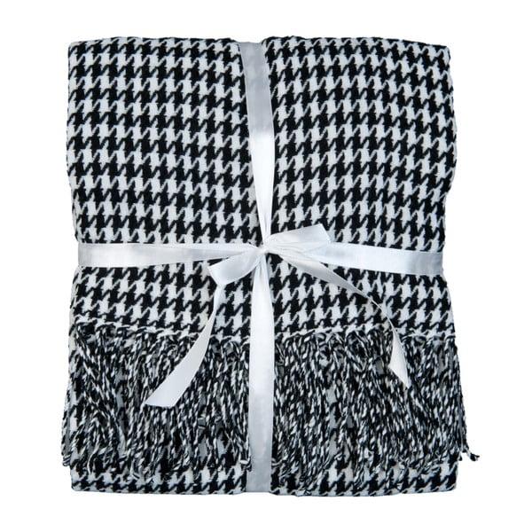 Čierno-biela prikrývka Clayre & Eef Dots, 130 x 150 cm