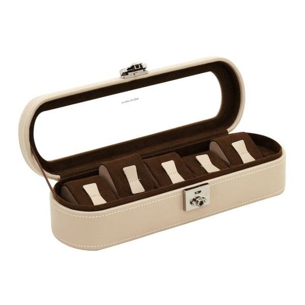 Béžový kožený box na 5 hodiniek Friedrich Lederwaren Cordoba
