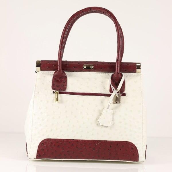 Kožená kabelka Rosalind, biela/červená