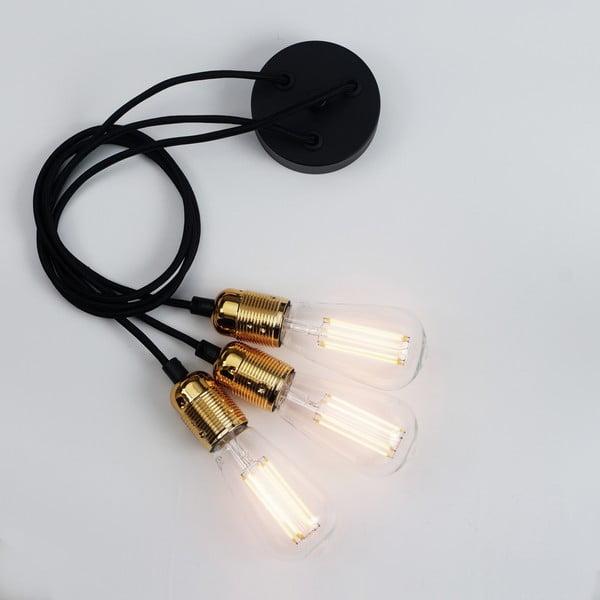 Závesné svietidlo s 3 čiernymi káblami a zlatou objímkou Bulb Attack Uno Group