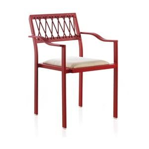 Červená záhradná stolička s bielymi detailmi a opierkami Geese Seally