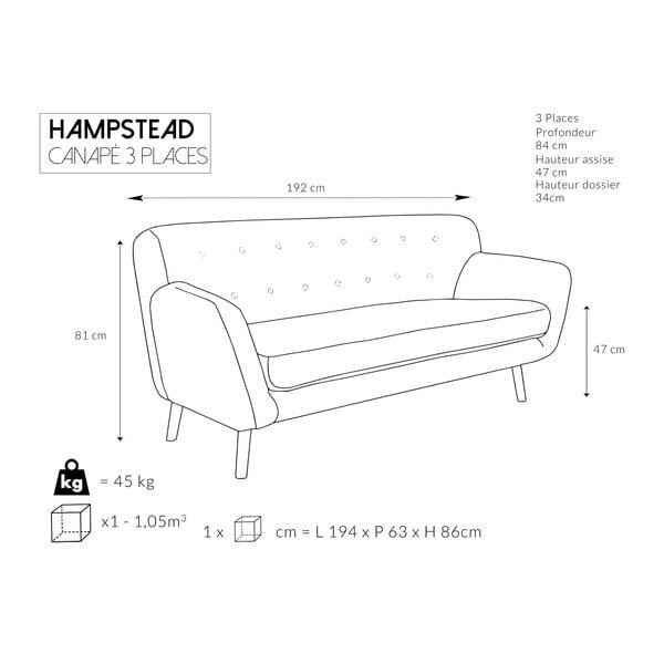 Tyrkysová pohovka pre troch Cosmopolitan design Hampstead