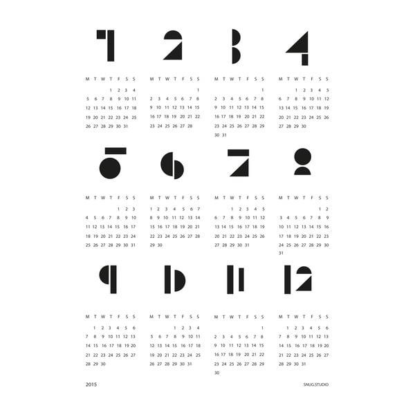 Nástenný kalendár SNUG.Toy Blocks 2017, bIELY