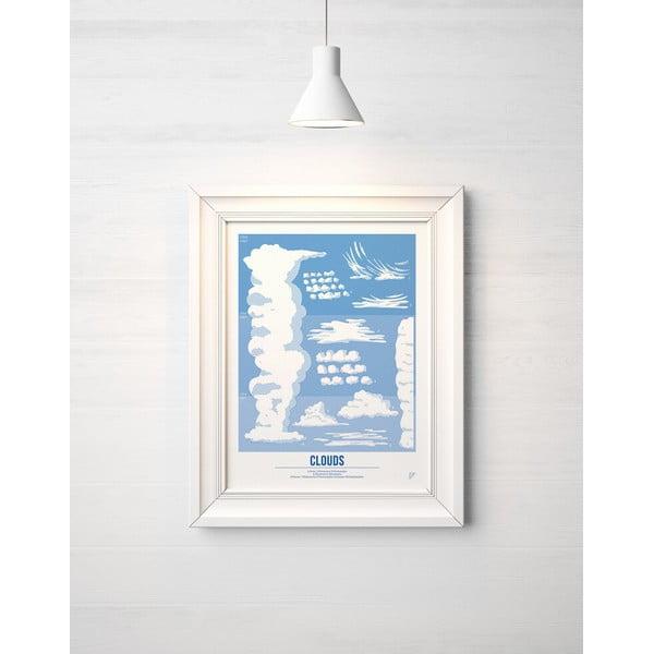 Farebný plagát Follygraph Clouds Blue, 30x40cm