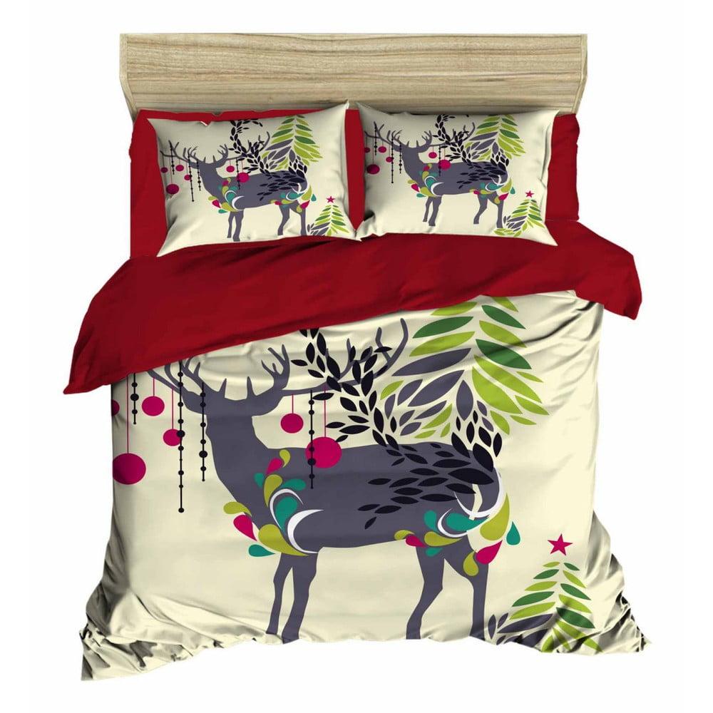 Vianočné obliečky na dvojlôžko s plachtou Jenn, 160×220 cm