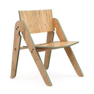 Detská stolička z bambusu Moso so zelenými detailmi We Do Wood Lilly 's
