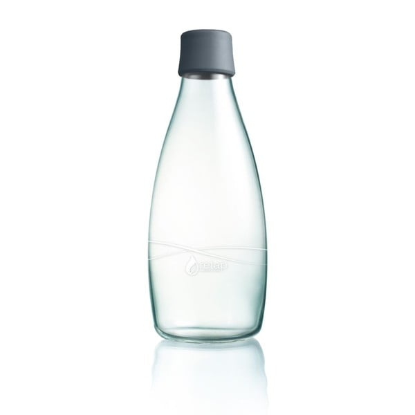 Sivá sklenená fľaša ReTap s doživotnou zárukou, 800ml