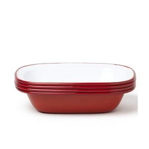 Sada 4 červených smaltovaných foriem na koláč Falcon Enamelware