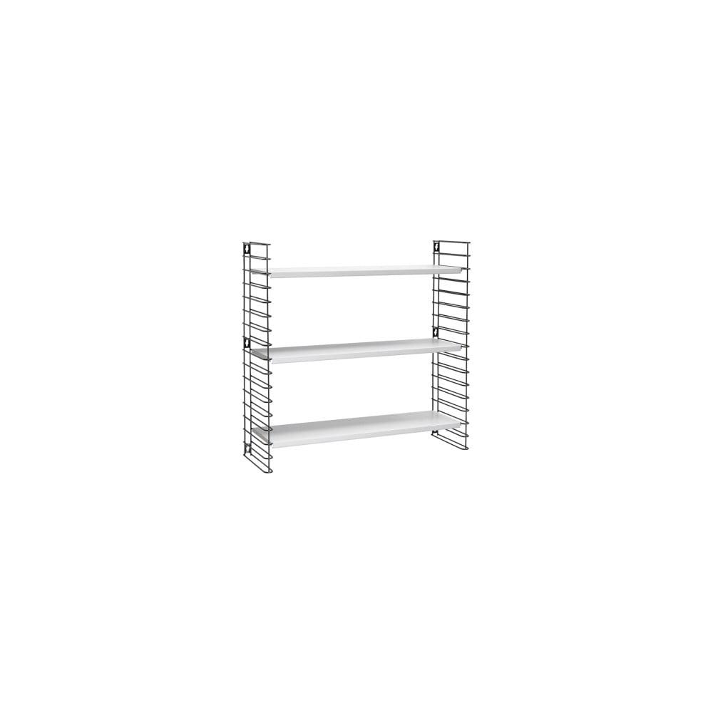 Čierny 3-poschodový regál s bielymi policami Metaltex Libro